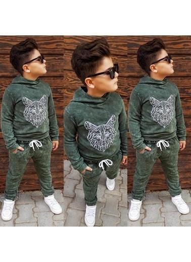 Quzucuk Kids Erkek Çocuk Kurt Figürlü Yeşil Eşofman Takımı Yeşil